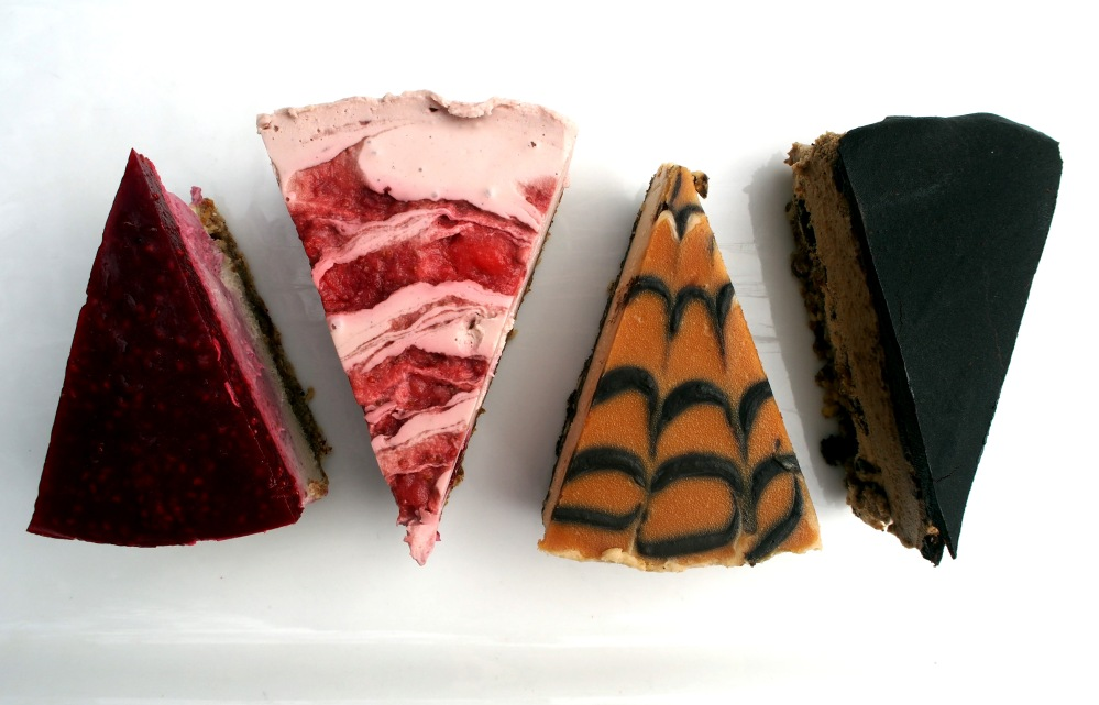 Vegan cheesecakes: Coconut raspberry, strawberry, peanut butter salted caramel, mocha.