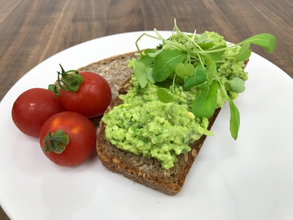 Edamame and Avo on Spouted Grain Bread